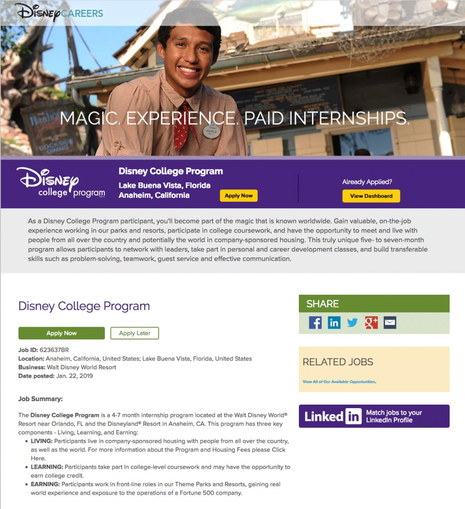 disney internship possibility; graphic design students