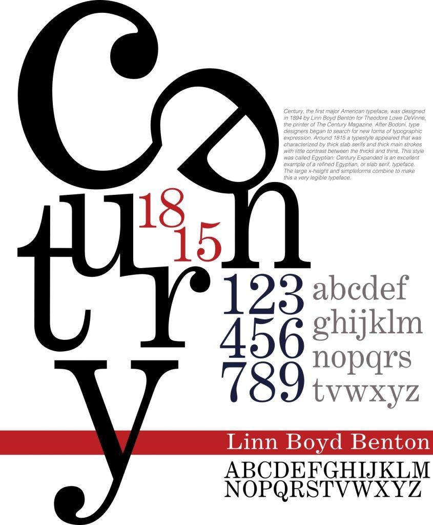 Century- student typography Professor Victoria Martin
