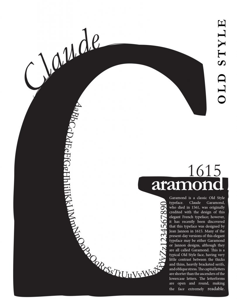 Garamond- student typography Professor Victoria Martin